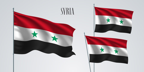 Syria waving flag set of vector illustration