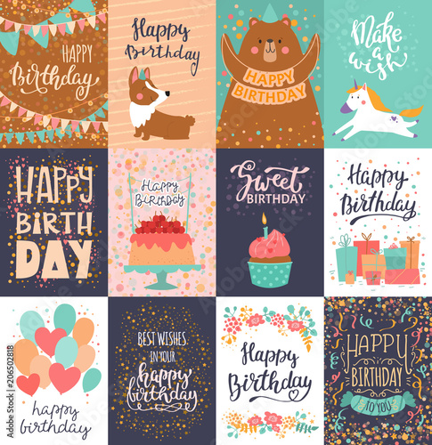 Happy Birthday Card Vector Anniversary Greeting Postcard With Lettering And Kids Birth Party Invitation Cake