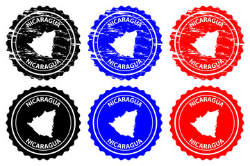 Nicaragua - rubber stamp - vector, Republic of Nicaragua map pattern - sticker - black, blue and red