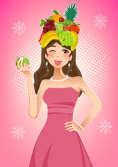 Healthy women And Beautiful skin with vitamins of fruit. Good food from quality products.