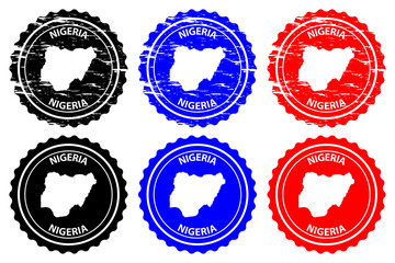 Nigeria - rubber stamp - vector, Federal Republic of Nigeria map pattern - sticker - black, blue and red