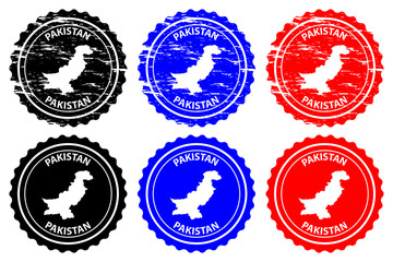 Pakistan - rubber stamp - vector, Islamic Republic of Pakistan map pattern - sticker - black, blue and red