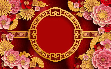 Chinese traditional and asian elements background template on paper color Background.
