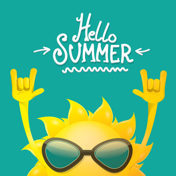 hello summer funky rock n roll vector label isolated on azure. summer party background with funky sun character design template. vector summer party poster