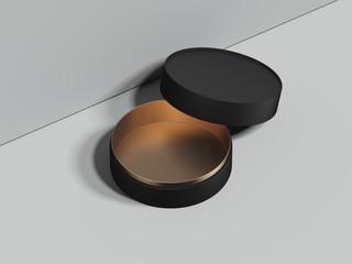 Black opened round box stands on grey floor. 3d rendering