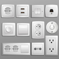 Socket and switch vector electrical outlet for electric plugs and electricity illustration set of different types of power sockets and switchers isolated on background
