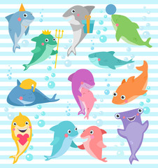 Shark vector cartoon seafish smiling with sharp teeth illustration set of fishery character of friend with gift on happy birthday party isolated on marine background