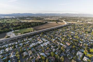 Aerial view of Encino, the Ventura 101 Freeway and Sepulveda Basin in the San Fernando Valley area of Los Angeles, California.