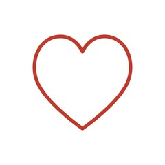 Red heart icon vector. Line color love symbol isolated. Trendy flat outline ui sign design. Thin linear graphic pictogram for web site, mobile application. Logo like heart illustration. Eps10