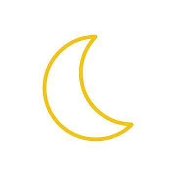 Yellow moon icon vector. Line color nature symbol isolated. Trendy flat weather outline ui sign design. Thin linear graphic pictogram for web site, mobile application. Logo moon illustration. Eps10
