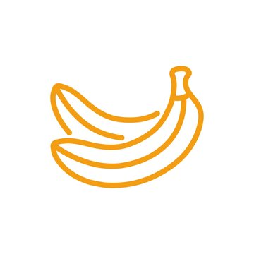 Yellow banana icon vector. Line color fruit symbol isolated. Trendy flat outline ui sign design. Thin linear banana graphic pictogram for web site, mobile app. Logo illustration. Eps10