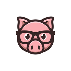Pig with glasses icon