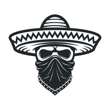 Mexican skull in sombrero. Bandit with hat and bandanna