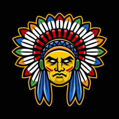 Colorful American Indian Chief head, sport logo