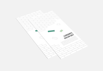 Brick Pattern Trifold Brochure Layout With Green Accents