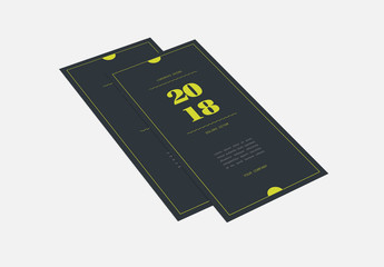 Dark Blue Trifold Brochure Layout with Yellow Accents