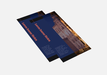 Blue Trifold Brochure Layout with Architectural Images