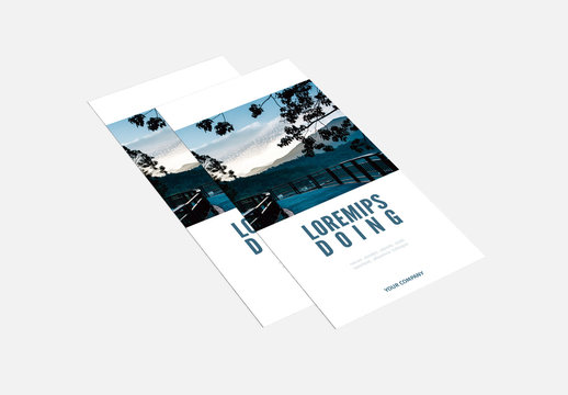 Trifold Brochure Layout with Blue Accents and Mountain Images