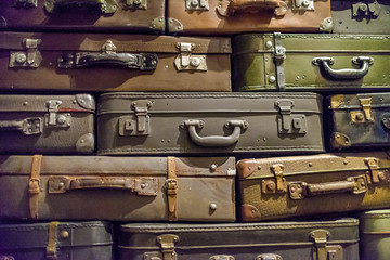 Wall of old suitcases