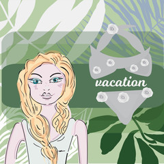 girl with, lips, palm leaves, frangipani plumeria flower, flags. Tropical beach party. Retro vector illustration. Place for your text. Invitation, banner, card, poster, flyer