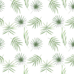 Tropical seamlless pattern with exotic palm leaves. Seamlless pattern tropic leafs on white background