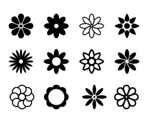 Set of simple flower shape icons signs and symbols in vector format