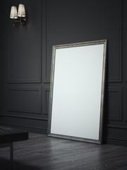 Blank bright indoor billboard with black frame next to black walls, 3d rendering