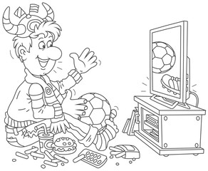 Soccer fan watching a football match on television, black and white vector illustration in a cartoon style