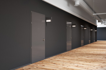 Office or college corridor with rows of doors side
