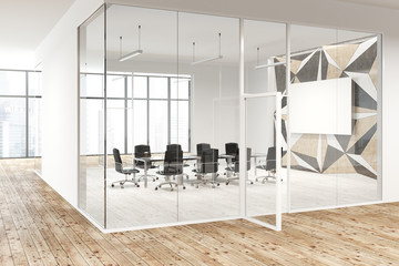 Star wall pattern and glass meeting room, poster