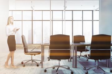 Loft office meeting room interior businesswoman