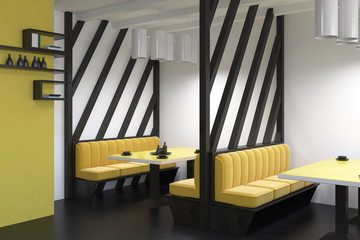 Yellow sofas diner interior side view