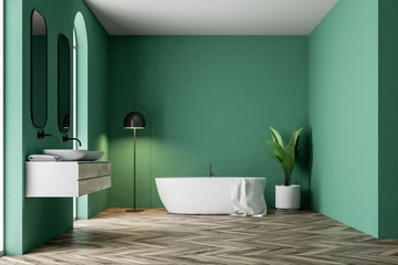 Luxury green bathroom interior