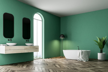 Luxury green bathroom corner