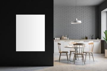 Black kitchen interior, bar, poster