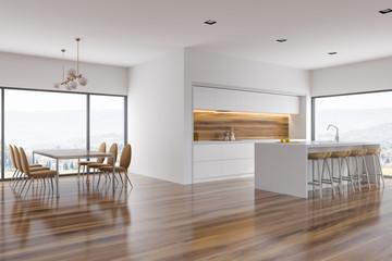 Obraz White dining room and kitchen corner, bar - fototapety do salonu