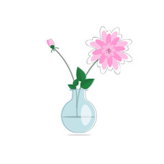 Flat style Spring flowers bouquet in glass vase
