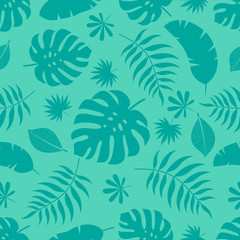 Exotic seamless colorful bright pattern with green tropical jungle leaves silhouettes on mint green background. Floral modern pattern for textile, manufacturing etc. Vector illustration