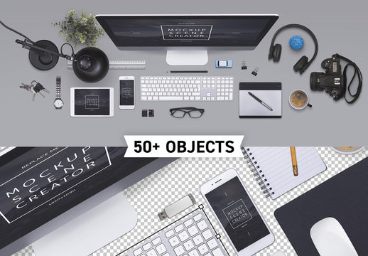 Isolated Office Objects Scene Creator