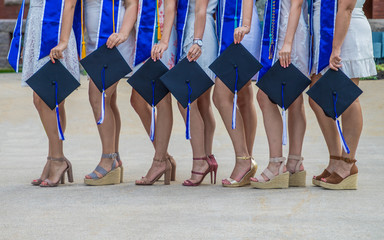 A college sorority group is celebrating friendship on graduation day.
