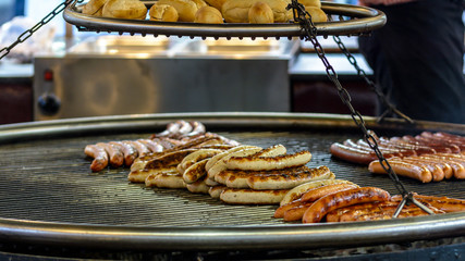 German Bratwurst Sausage on the Grill, shallow depth of field food photography