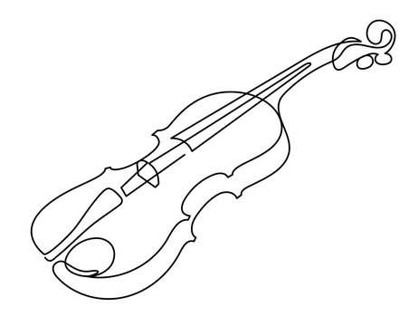 continuous line drawing of three-quarter violin vector. Musical instrument