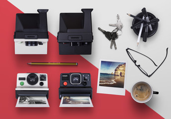 Instant Camera with Film Mockup