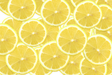 Pattern of citrus fruits.Fresh organic slice ripe lemon and lime on background.Top view,flat lay.Food background, wallpaper.