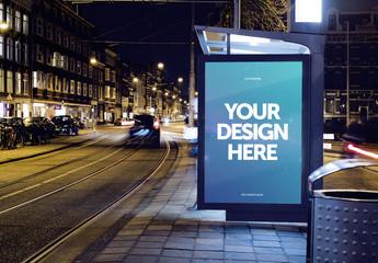Bus Stop Advertising Kiosk at Night Mockup