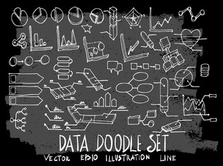 Hand drawn Sketch doodle vector data element icon set on Chalkboard eps10