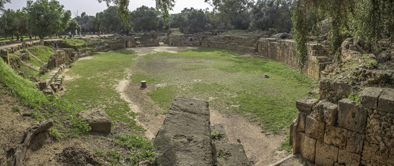 Panoramic view of amphitheater in roman town Tipasa (Tipaza), Algeria