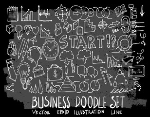 Hand drawn Sketch doodle vector business element icon set on Chalkboard eps10