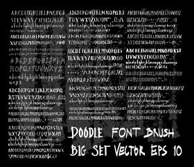 Hand drawn Sketch doodle vector font set on Chalkboard eps10