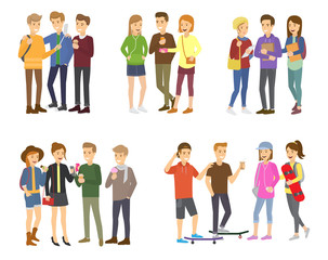 Youth group of teenagers vector grouped teens characters of girls or boys together and young student community friendship illustration set of youthful people isolated on white background